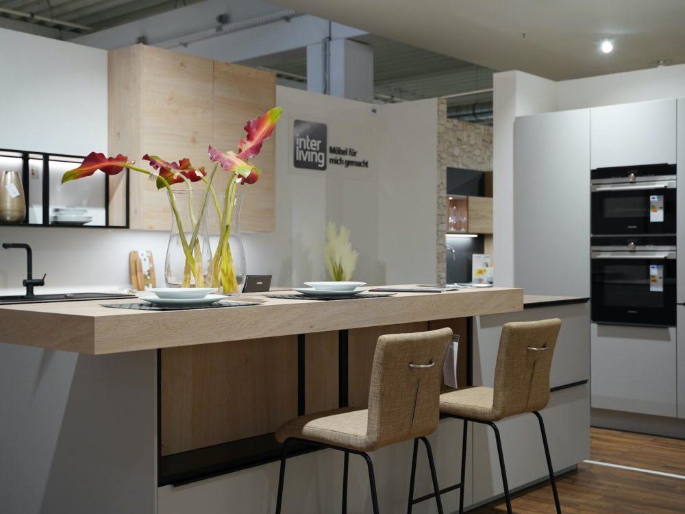 Design Küche Insel Küche Lack Platingrau Asteiche matt