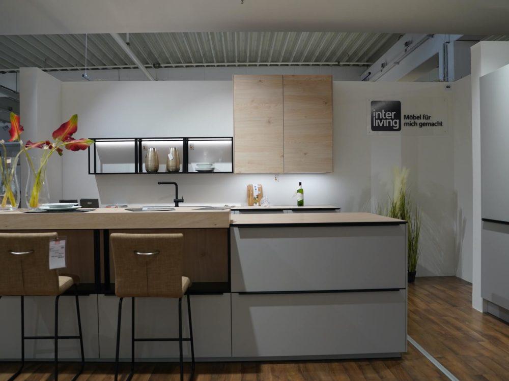 Design Küche Insel Küche Lack Platingrau matt Asteiche