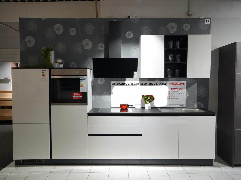 Küchenzeile Weiß Hochglanz Grifflos mit Privileg Elektrogeräten