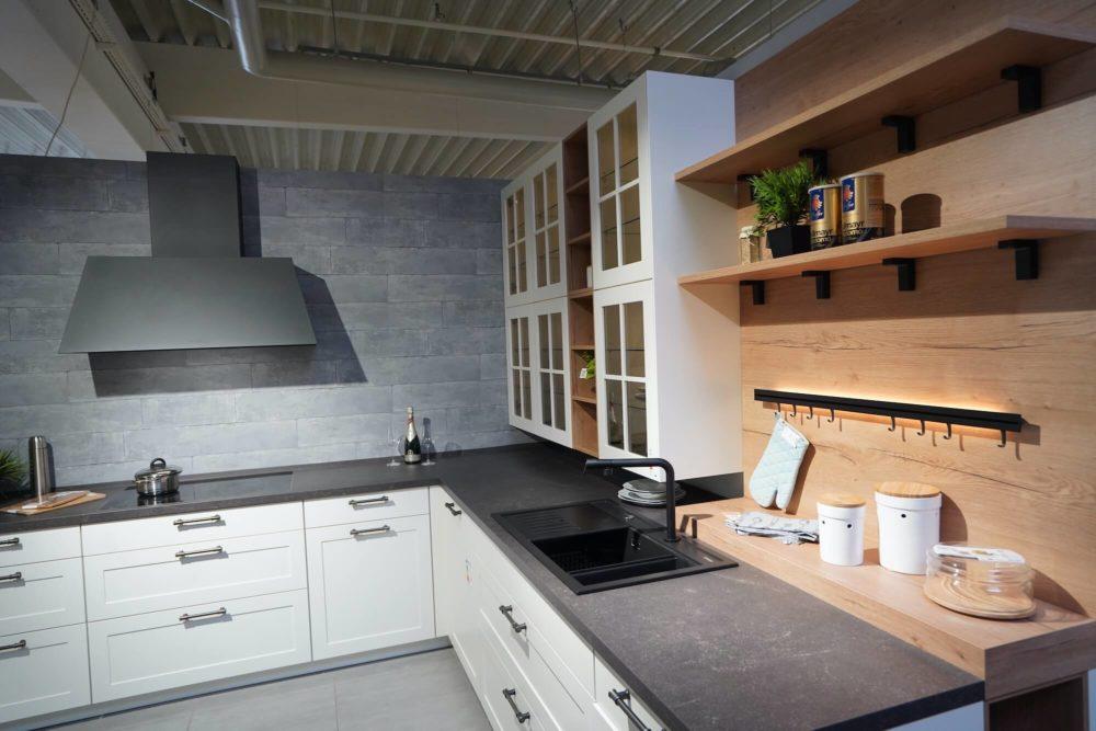 Lack Landhaus Küche weiß L-Form matt