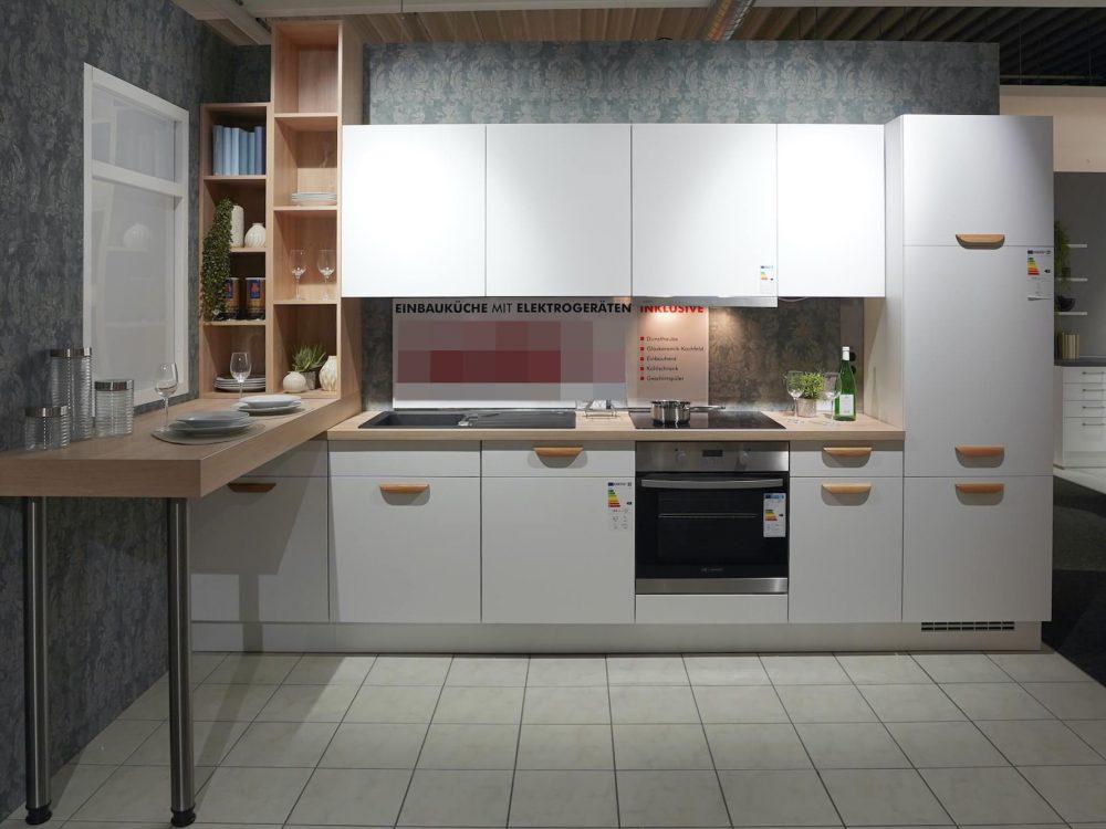 Nobilia Küchenzeile Modern Lacklaminat weiß mit Esstresen