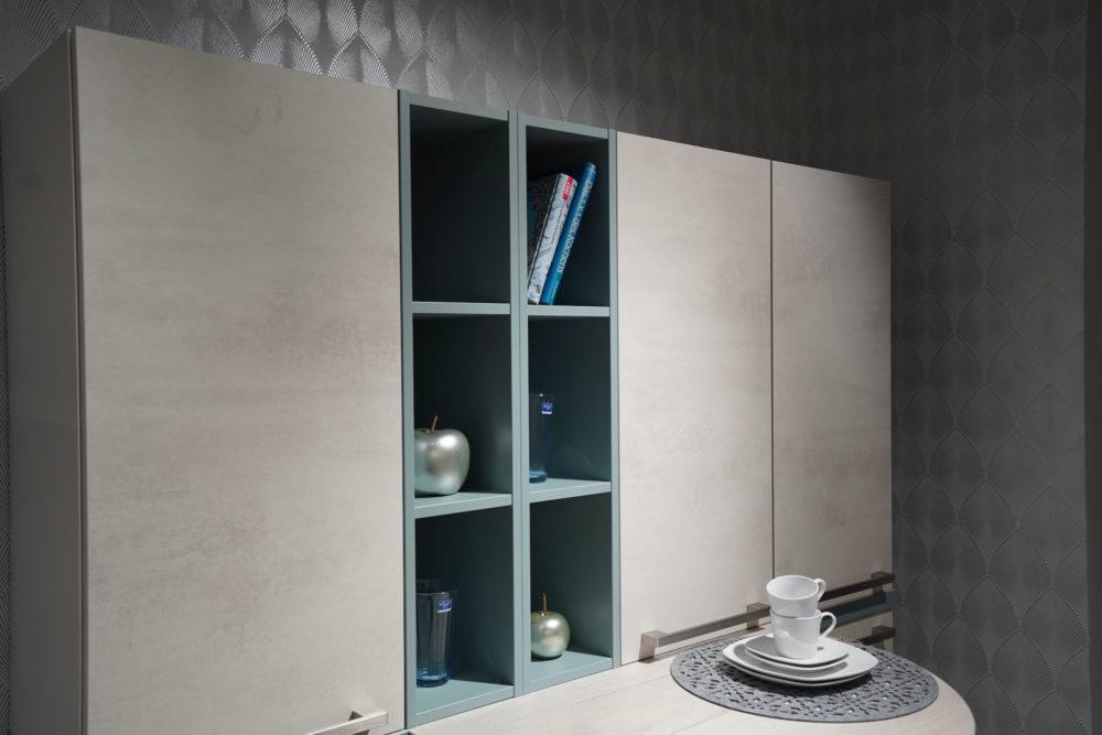 Nobilia Küchenzeile Riva Weißbeton mit Wandschrank und Tresen Seidengrau