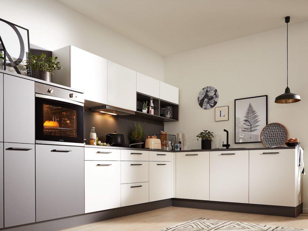 L-Küche modern weiß softmatt Arbeitsplatte quarzgrau