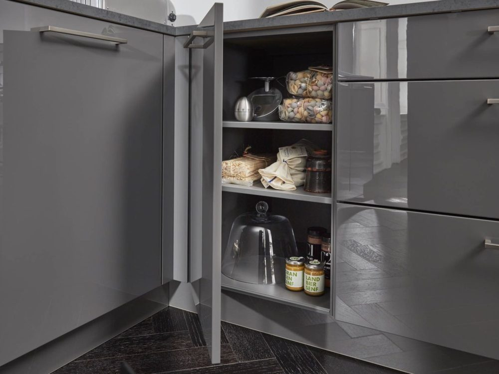 Lack Hochglanz quarz-grau Edelstahl Griffe Moderne L-Küche