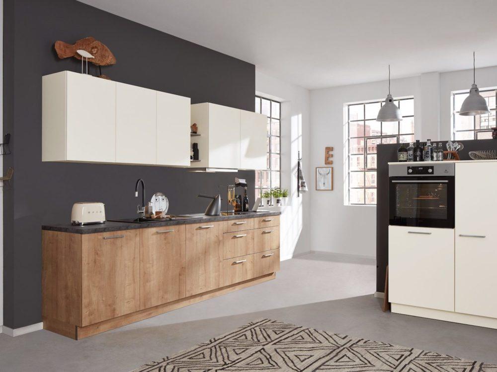 Magnolia Küchenzeile modern Holz Fronten Eiche und Wandschrank