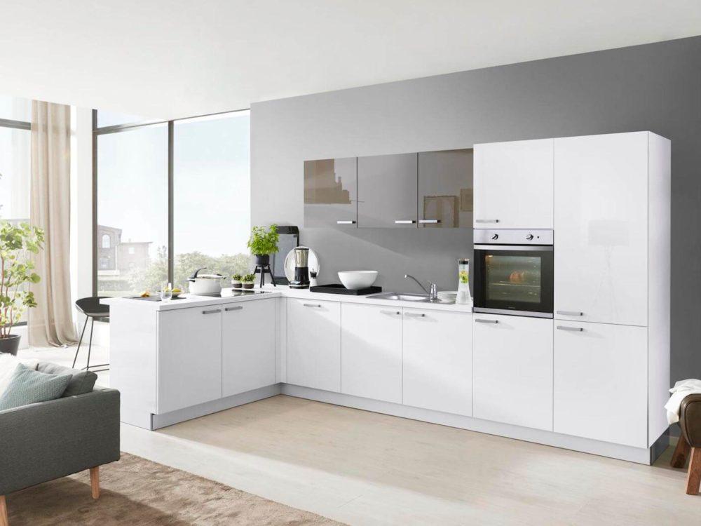 Modern Lack Fronten hochglanz weiß mit edelstahl Griffen L-Küche