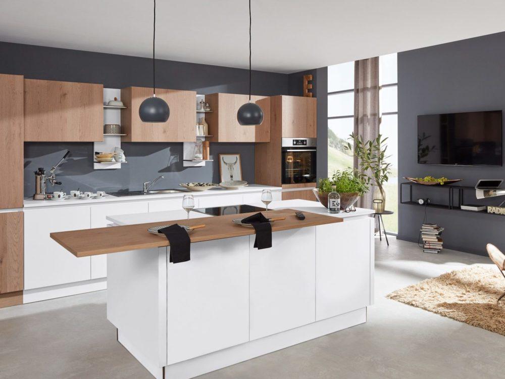 weiß eiche pinot mit Essttheke grifflos Küche Design Insel