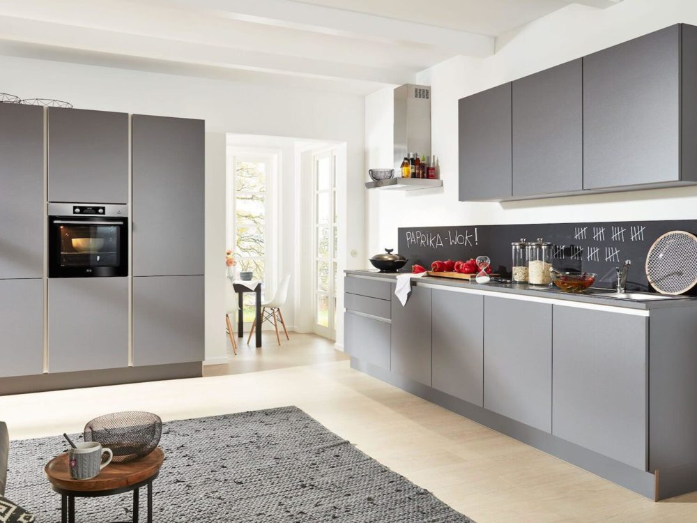 Design Küche grifflos Quarzgrau