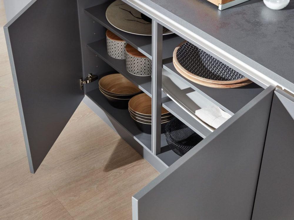 Design Küchenzeile Grau Unterschrank Grifflos