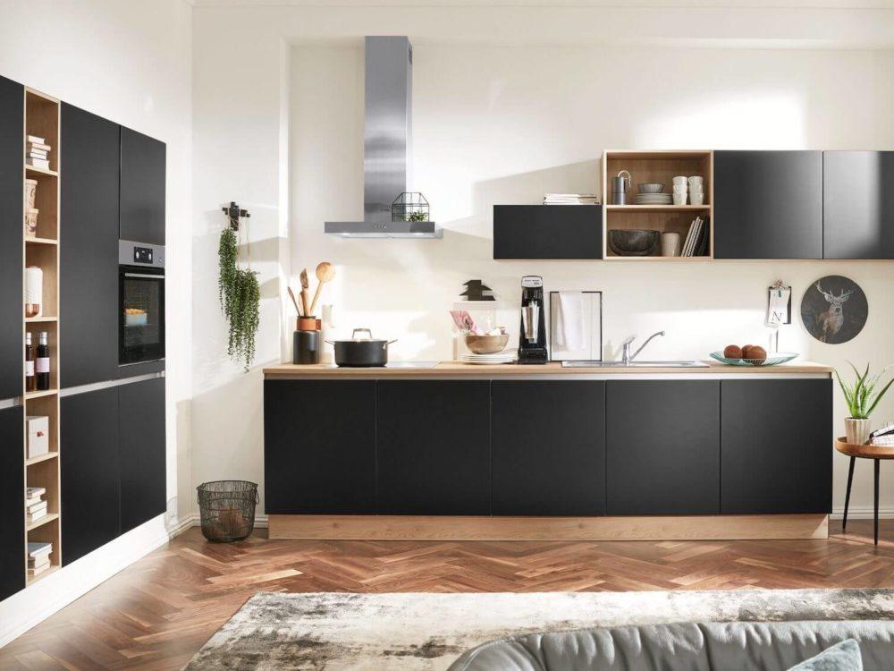 Designküche grifflos Lack schwarz