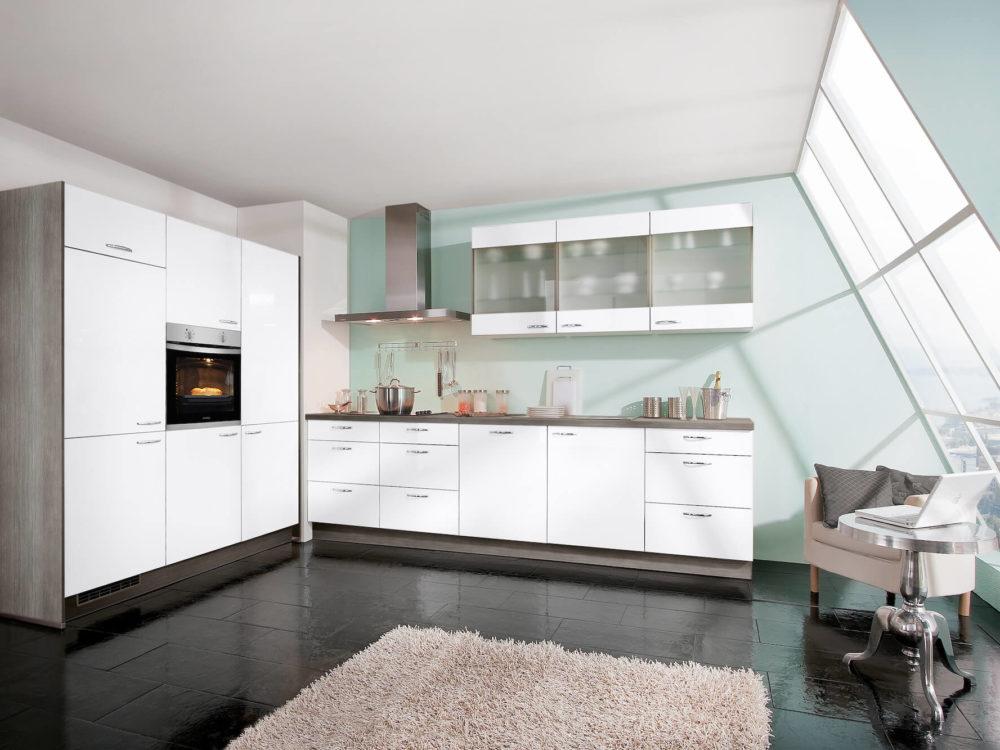 Express Moderne Küchenzeile weiß Hochglanz