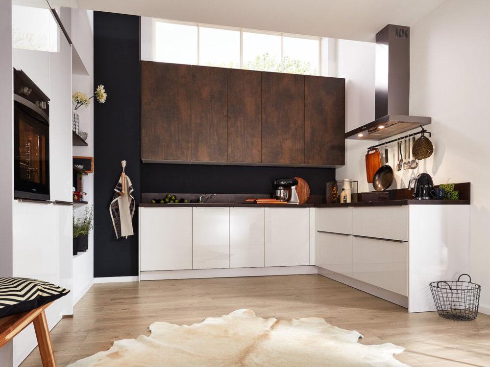 Interliving Modern kleine L-Küche hochglanz Weiß