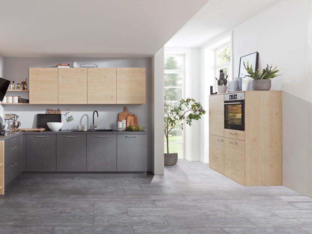 L-Küche modern Stahlgrau