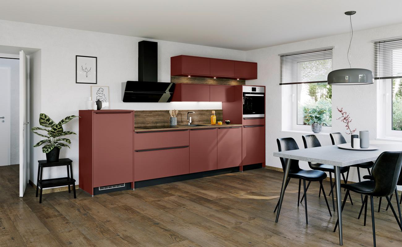 Express Küchen Küchenzeile Rot Matt Design
